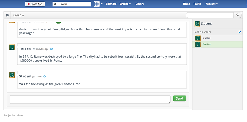 Backchannel Chat for Edmodo - Chat screen